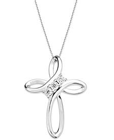 Diamond Cross Pendant Necklace in Sterling Silver (1/10 ct. t.w.)