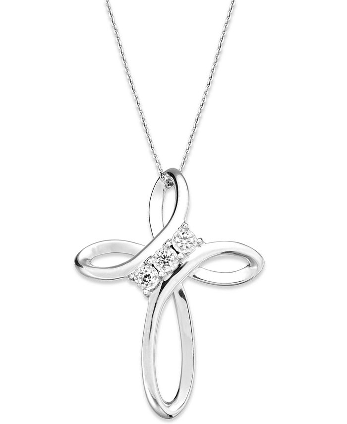 TruMiracle - ® Diamond Cross Pendant Necklace in Sterling Silver (1/10 ct. t.w.)
