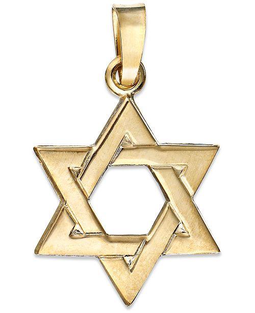 Macys 14k gold pendant star of david charm necklaces jewelry 14k gold pendant star of david charm aloadofball Image collections