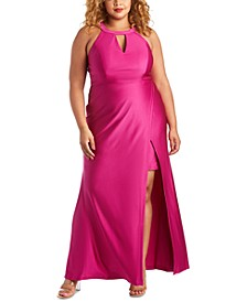 Trendy Plus Size Halter Gown
