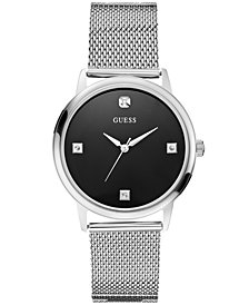 GUESS Watch, Men's Diamond Stainless Steel Mesh Bracelet 40mm U0280G1