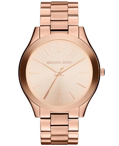Michael Kors Unisex Slim Runway Rose Gold-Tone Stainless Steel Bracelet Watch 42mm MK3197