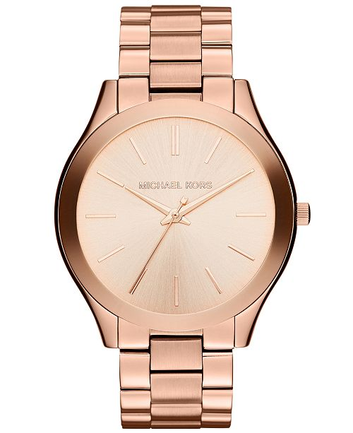 97c449c7caf7 ... Michael Kors Unisex Slim Runway Rose Gold-Tone Stainless Steel Bracelet  Watch 42mm MK3197 ...