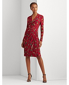 Pleated Paisley Jersey Dress