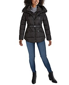 Faux-Fur Trim Hooded Belted Puffer Coat