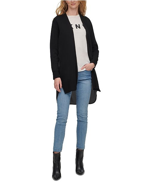 Mixed Media Asymmetrical Open Front Cardigan Sweater