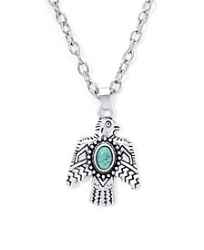 Simulated Turquoise Fine Silver Plated Eagle Pendant Necklace