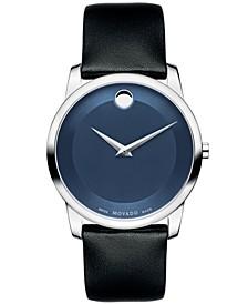 Unisex Swiss Museum Classic Black Calfskin Leather Strap Watch 40mm 0606610