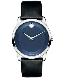 Movado Unisex Swiss Museum Classic Black Calfskin Leather Strap Watch 40mm 0606610