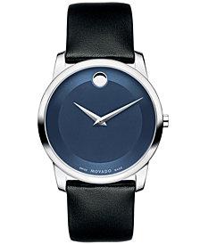 Movado Unisex Swiss Museum Classic Black Calfskin Leather Strap Watch 40mm 0606610