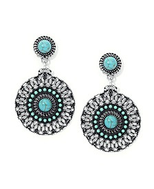 Simulated Turquoise Fine Silver Plated Medallion Wire Earrings