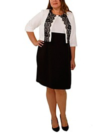 Women's Plus Size Elbow Sleeve Jacket and Color blocked Dress