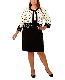 Plus Size 3/4 Sleeve Jacket and Sleeveless Dress