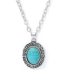 Simulated Turquoise Fine Silver Plated Oval Greek Key Design Pendant Necklace