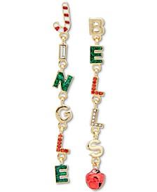 Gold-Tone Multicolor Crystal & Glitter Jingle Bells Linear Drop Earrings, Created for Macy's