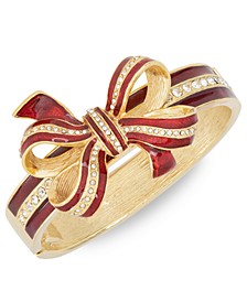 Gold-Tone Pavé & Glitter Red Tied-Bow Bangle Bracelet, Created for Macy's