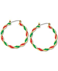 "Gold-Tone Medium Red & Green Twist Hoop Earrings, 1.37"", Created for Macy's"