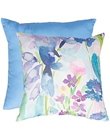 "Floral & Solid 20"" x 20"" Outdoor Decorative Pillow 2-Pack"