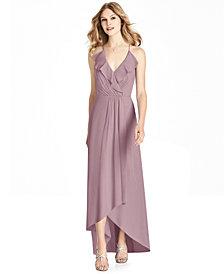 Jenny Packham Ruffled Chiffon High-Low Gown