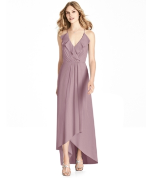 Jenny Packham Ruffled Chiffon High-low Gown In Dusty Rose