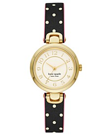 Rainey Park Dot Reversible Leather Watch, 30mm