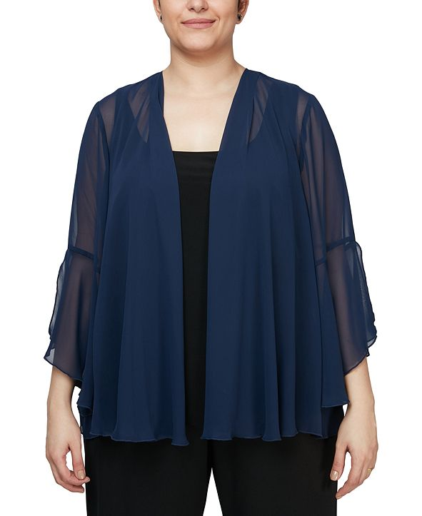 Alex Evenings Plus Size 3/4-Sleeve Jacket