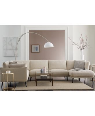 Marleese 3-Pc. Fabric and Leather Sofa with Double Chaise, Created for Macy's