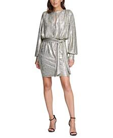 Metallic Tie-Waist Shift Dress