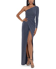 One-Shoulder Glitter-Knit Gown