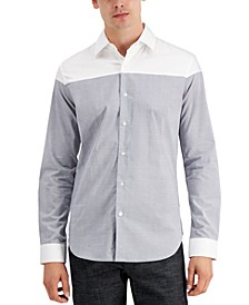 Men's Cut and Sew Micro Plaid Shirt, Created for Macy's