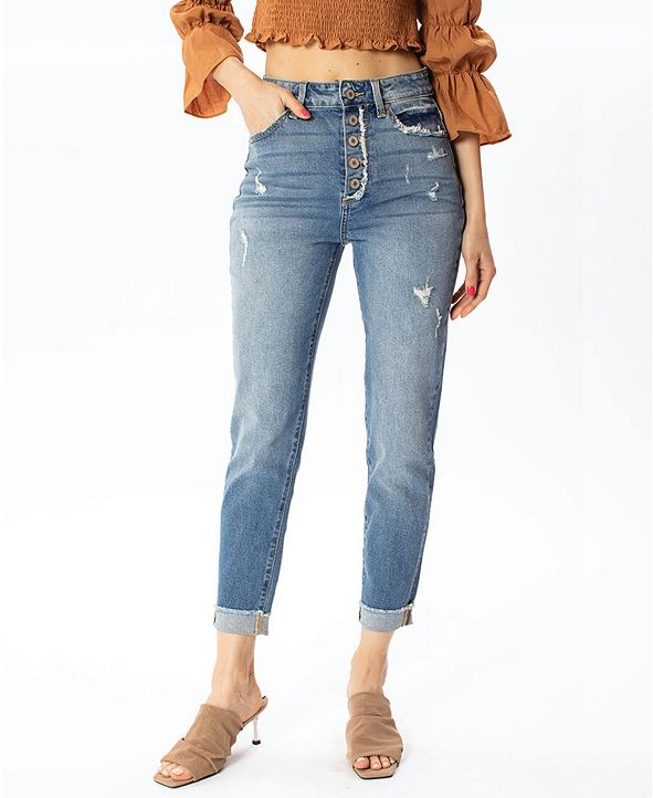 Kancan Women's High Rise Button-Fly Mom Jeans