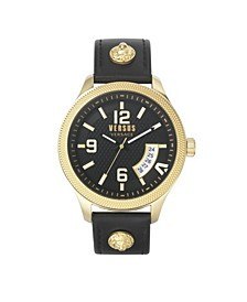 Men's Reale Black Leather Strap Watch 44mm