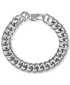 INC Men's Stainless Steel Chunky Curb Link Bracelet, Created for Macy's