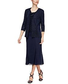Alex Evenings Cowlneck Dress & Jacket
