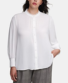 Plus-Size Scallop-Trim Blouse