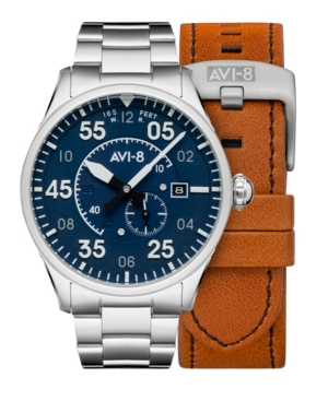 Men's Spitfire Silver-Tone Solid Stainless Steel Bracelet and Brown Genuine Leather Strap Watch