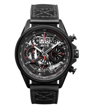 Men's Hawker Harrier Ii Black Genuine Leather Strap Watch