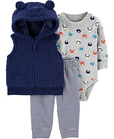 Baby Boy 3-Piece Sherpa Little Vest Set