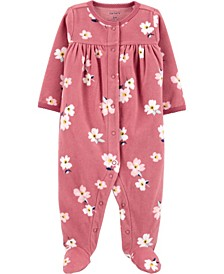 Baby Girl  Floral Snap-Up Fleece Sleep & Play