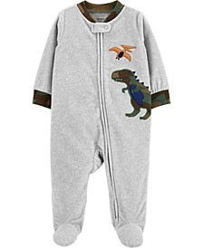 Toddler Boy  Dinosaur Zip-Up Fleece Sleep & Play