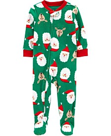 Baby Boys or Girls Footed Fleece Santa Baby Pajamas