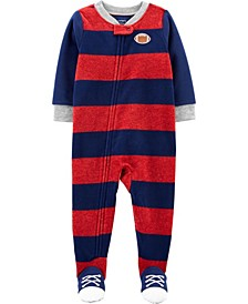 Big Boy 1-Piece Football Fleece Footie PJs