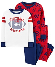 Baby Boy  4-Piece Football Snug Fit Cotton PJs