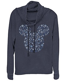 Juniors Disney Mickey Classic Mickey Snowflakes Fleece Cowl Neck Sweatshirt