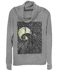 Women's Nightmare Before Christmas Spiral Hill Fleece Cowl Neck Sweatshirt