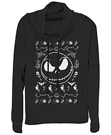 Women's Nightmare Before Christmas Jack Spooky Sweater Fleece Cowl Neck Sweatshirt