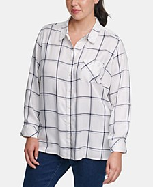 Plus Size Windowpane-Print Roll-Tab Shirt