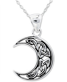 """Crescent Moon 18"""" Pendant Necklace in Sterling Silver, Created for Macy's"""