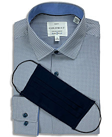 Receive a FREE Face Mask with purchase of the Con.Struct Men's Slim-Fit Performance Stretch Cooling Comfort Navy Blue Mini-Geo Print Dress Shirt, Created for Macy's