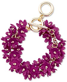 Gold-Tone Resin Flower Cluster Toggle Bracelet